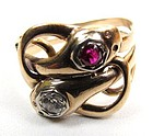Gentleman's Victorian Snake Ring, Ruby Diamond