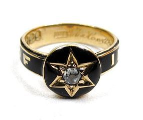 Beautiful Enamel and Diamond Victorian Mourning Ring