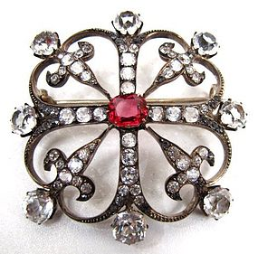 Stunning Large Edwardian Paste Brooch