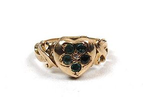 Victorian Heart-Shaped Locket Ring, Gold, Emeralds
