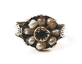 Georgian Emerald & Pearl Ring in 9K