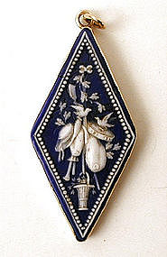 Rare Art Nouveau Pate de Verre Pendant in 14k
