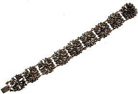 19th C Cut Steel Floral Motif Bracelet