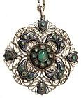 Intriguing Emerald, Turquoise, Silver, Enamel Pendant