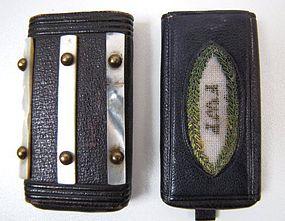 Unique 19th C Vesta Case, Leather, Mother of Pearl