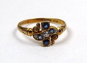 Antique Sapphire and Diamond 18K Ring, Cross