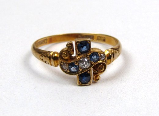 Antique Sapphire and Diamond 18K Ring, Cross