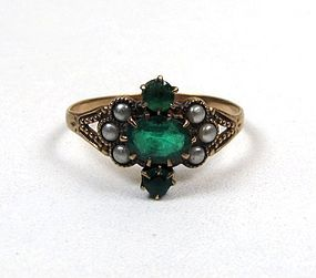 Victorian 10K, Emerald and Seed Pearl Ring