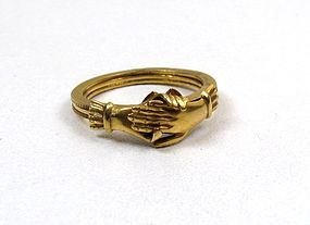 Fantastic Antique Fede Gimmel Ring, 18K gold