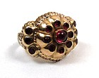 Dramatic Antique Gold and Ruby Ring, Iberian