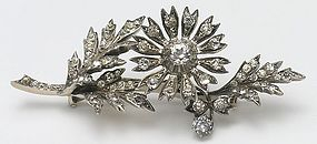 Perfect Victorian Paste Tremblant Floral Brooch