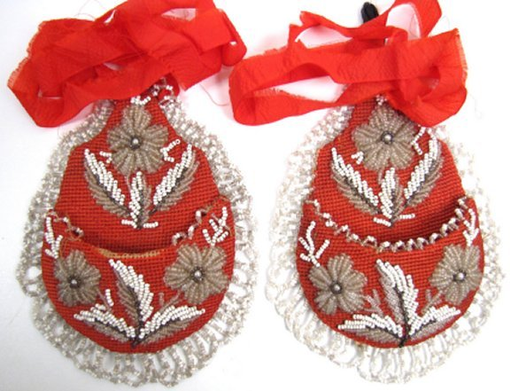 Lovely Pair of Victorian Beaded Wall Pockets