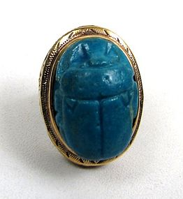 Antique Turquoise Egyptian Faience Scarab Ring