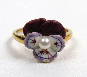 Classic Art Nouveau Enamel Pansy Ring