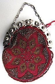 19th C Beaded Coin Purse, Crimson, Cut Steel Beads