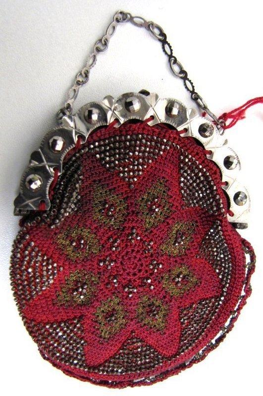 19th C Beaded Coin Purse, Crimson, Cut Steel Beads