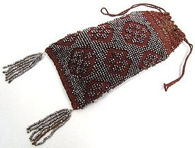 Stunning Crocheted and Cut Steel Beaded Purse, 1840's