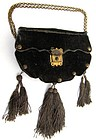 19th C Green Velvet Purse, Studs, Lock, Tassels