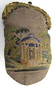 Early 19th C Double Sided Petit Point Purse