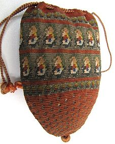 Early 19th C Drawstring Purse, Paisley Motif
