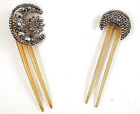 Georgian Cut Steel & Horn Combs