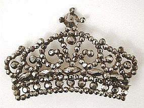 Early Victorian Cut Steel Brooch -- Crown!