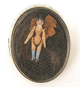 19th C Mourning Brooch, Doll in Hair