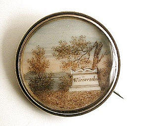 Early 19th C Sepia Mourning Brooch Wiedersehn