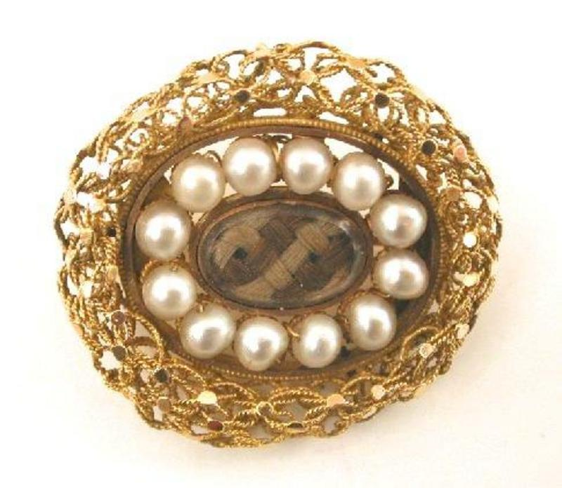 Unusual Victorian Mourning Brooch, 14k Wire