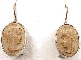 Victorian Lava Cameo Earrings