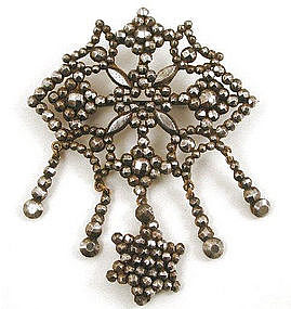 Early Victorian Cut Steel Dangle Brooch