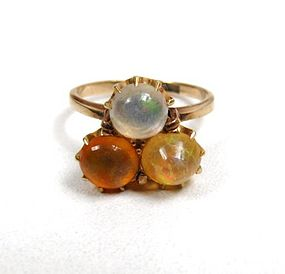 Antique Fire Opal and 14K Ring