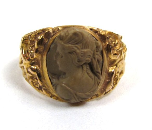 Antique Lava Cameo 14K Ring, Figural Band