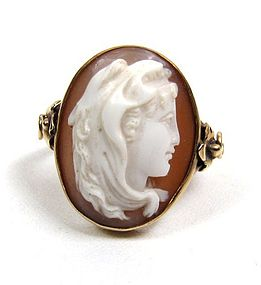 Antique Shell Cameo Ring, Long Haired Woman