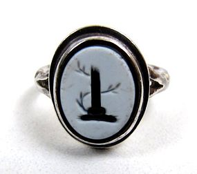 Antique Nicolo Intaglio Silver Ring, Broken Column