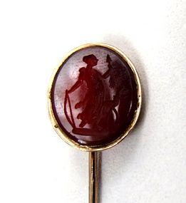 Antique Carnelian Intaglio Stick Pin, Artemis