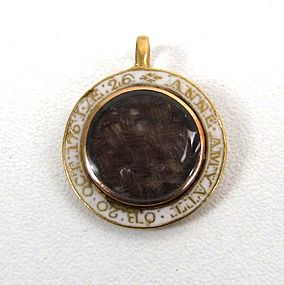 Georgian Hair, White Enamel, Gold Mourning Pendant.