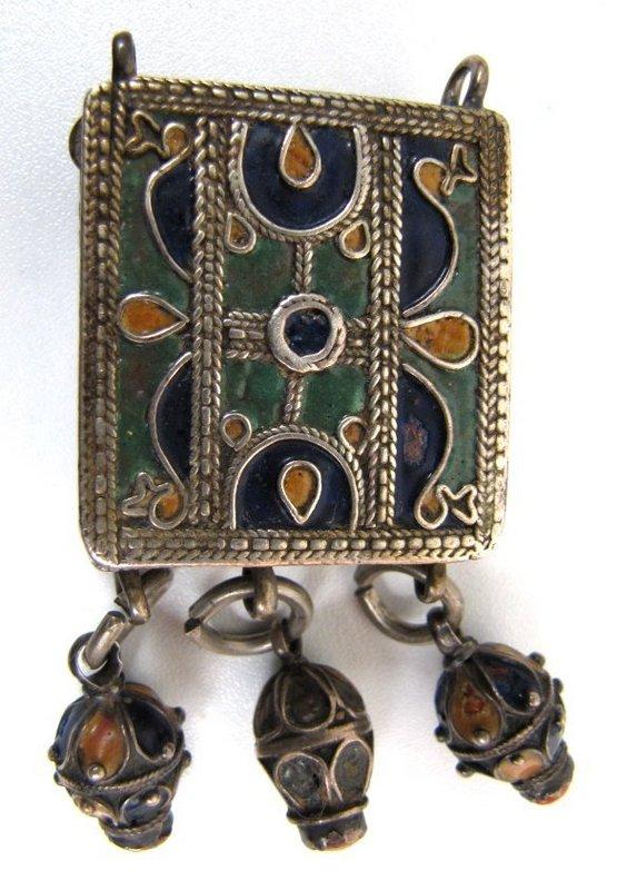 Antique Turkoman Silver, Enamel, Carnelian Pendant,