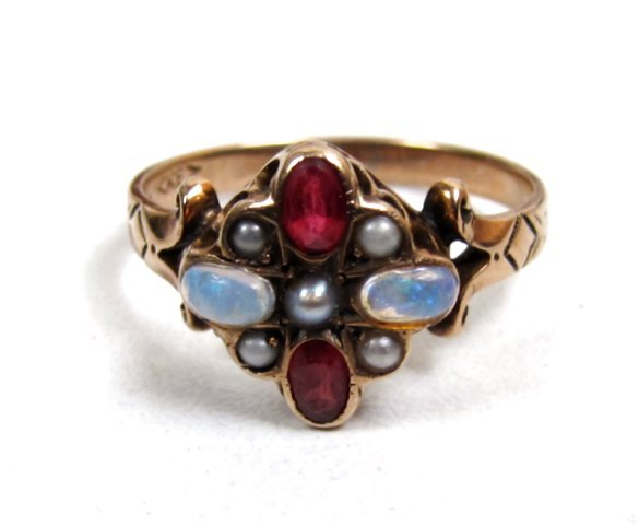 Striking Victorian Opal Garnet and Pearl Cluster Ring