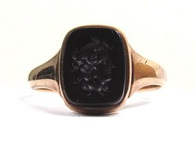 Onyx and 14K Antique Intaglio Ring, Classical Bust