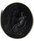 18th C Wedgwood Basalt Fob Seal, Achilles and Nike