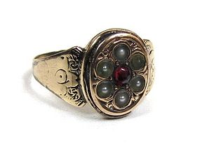 Poignant Garnet and Pearl Mourning Ring, Baby