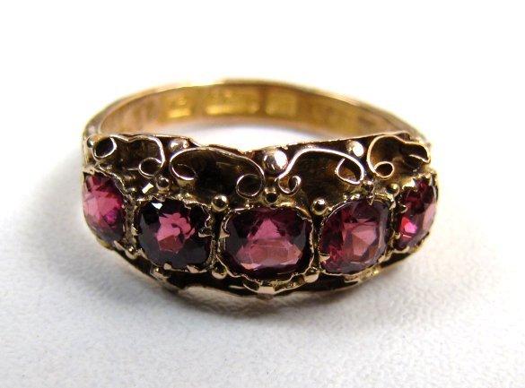 Striking Early Victorian Pink Garnet Ring, Circa 1840