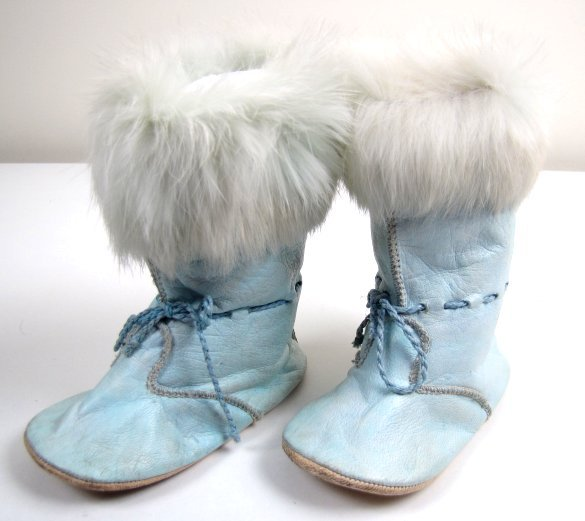 Pair of Antique Blue Leather Baby Boots, Fur Trim