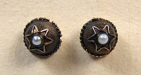 Pretty Vintage Gilt Silver and Pearl Stud Earrings