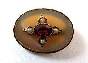 Victorian Chalcedony, Garnet, and Pearl 9K Brooch