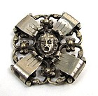 Strange and Interesting White Metal Brooch, Mask