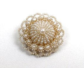 Pretty Antique Seed Pearl Brooch, Wedding Cake