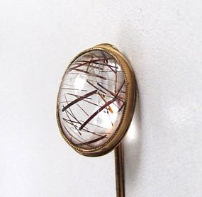 Gorgeous Antique Rutilated Quartz 14K Stick Pin