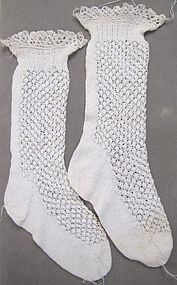 Antique Finely Knitted White Cotton Children�s Socks